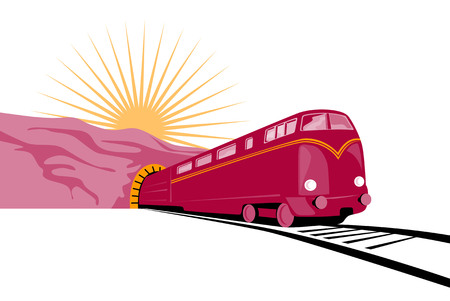Train coming out of the tunnel Vector