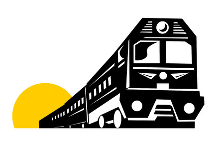 Train with sun in the background Vector
