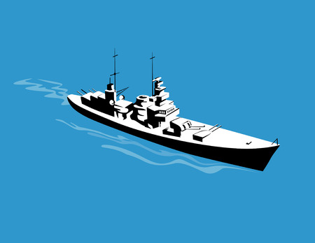 Warship steaming past as viewed from above Vector
