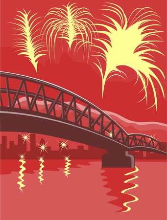 Harbor bridge with city in background and fireworks Vector