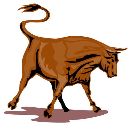 Raging texas longhorn bull Illustration