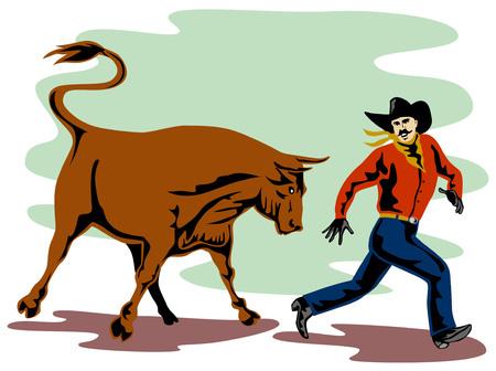 toro arrabbiato: Rodeo cowboy di essere inseguiti da un toro arrabbiato  Vettoriali