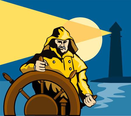 ship captain: Captain steering his ship