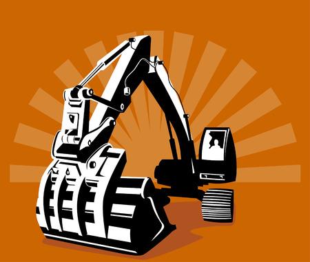 idraulico: Digger con solarizzazione in background