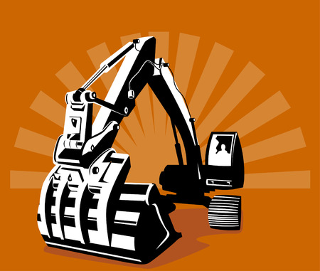 excavator: Digger with sunburst in the background Illustration