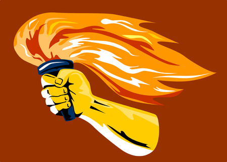Hand with flaming torch Stock Vector - 2323456