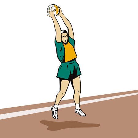 rebounding: Netball player jumping to catch ball