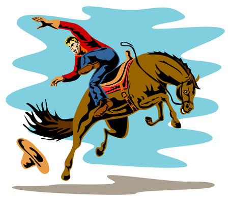 bucking horse: Cowboy falling off his horse