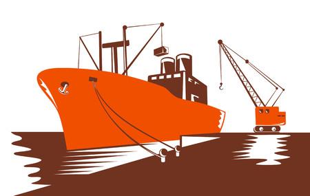 timon barco: Buque de contenedores que se est� cargando con una gr�a