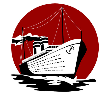 timon de barco: Buques de pasaje de vapor hacia usted Vectores
