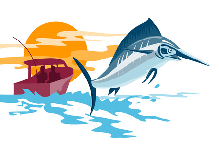 fisherman boat: Swordfish jumping with boat in the background Illustration
