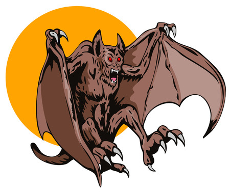 fangs: Blood thirsty Flying creature swooping down Illustration