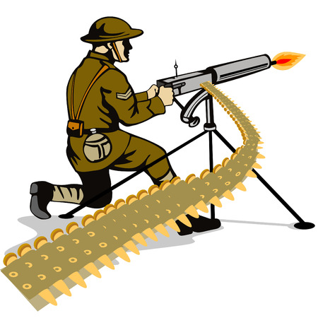 cartoon soldat: Soldier Brennen ein Maschinengewehr