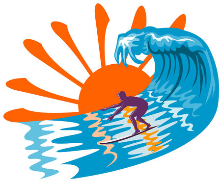 Sun, surf and surfer Vector