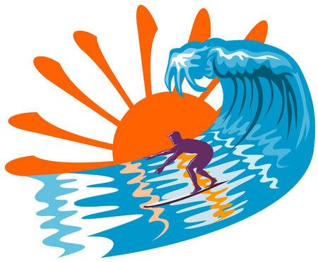 Sun, surf and surfer Иллюстрация
