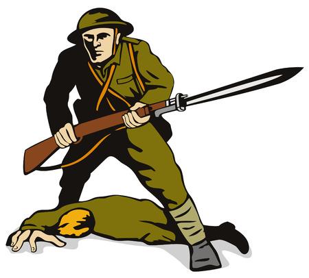 baionetta: Soldato con baionetta compagno morto in piedi su