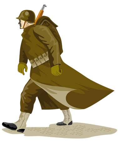 Soldier marching in full gear Stock Vector - 2370990