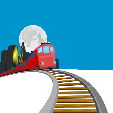 rails: Train coming up with buildings
