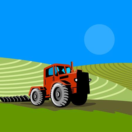 ploegen: Tractor met boerderij op de achtergrond Stock Illustratie