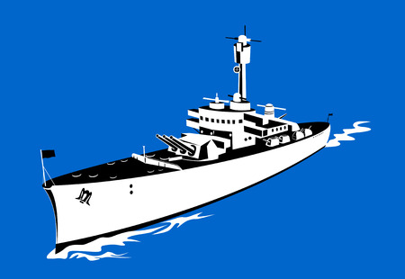 the destroyer: Warship steaming past as viewed from above