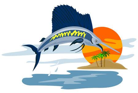 sailfish: Pez vela saltar a la puesta del sol
