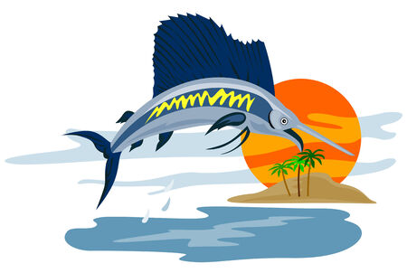 pez vela: Pez vela saltar a la puesta del sol