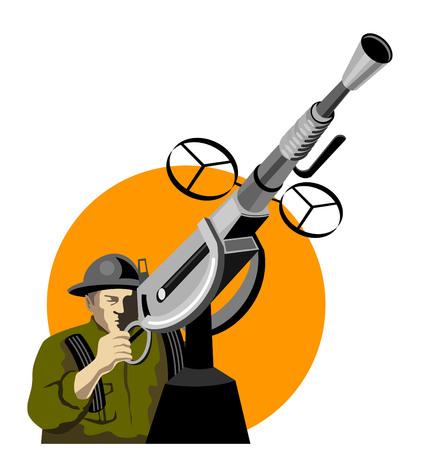 Soldier manning an anti-aircraft gun Vector