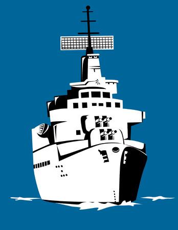 Battleship sailing Vector