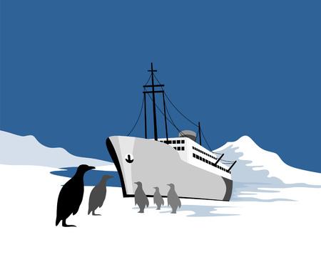 Ship stranded in the polar ice region Vector