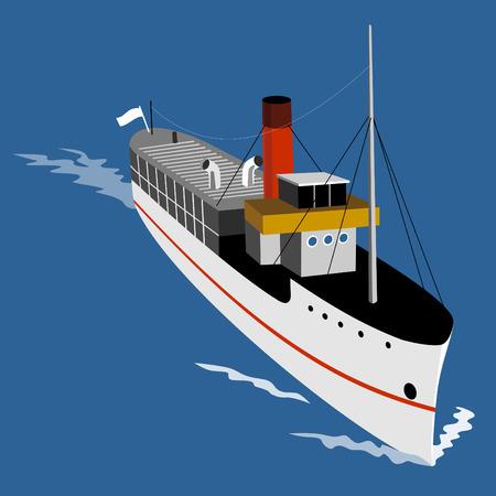 steamship: Stoomschip gezien van boven