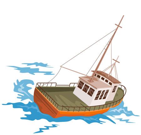Fishing boat battling huge swells Stock Vector - 2521507