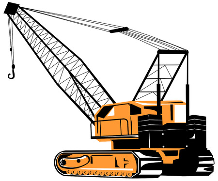 construction machinery: Crane isolated on white