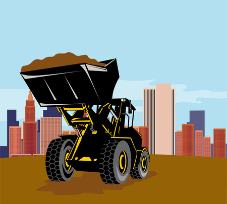 earth mover: Front loader with buildings in background Illustration