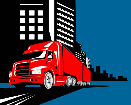 haulage: Truck with building in background