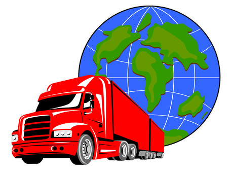 cartage: Truck with globe