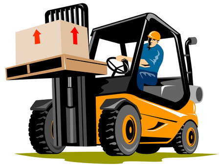 Forklift with driver Stock Vector - 2521513