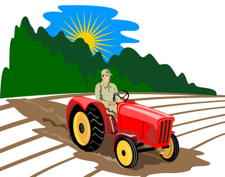 Farmer driving his tractor Vector