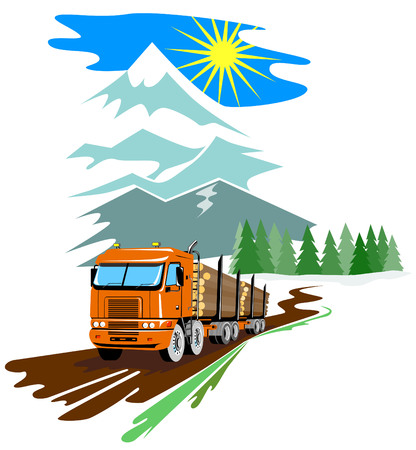Logging truck with mountains in the background Vector