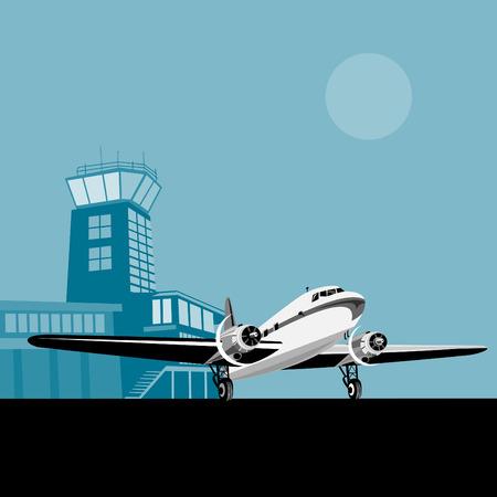 air traffic: H�lice de avi�n con la torre de control en el fondo