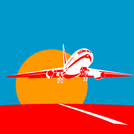 commercial airplane: Jet plane taking off