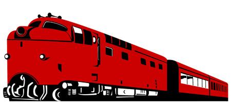 Diesel trein op witte achtergrond