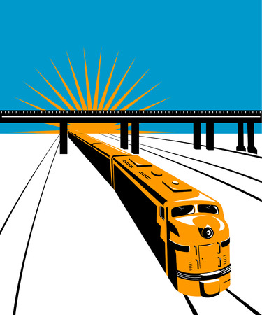 Train with bridge in the background Vector