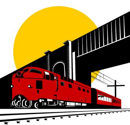 Diesel trein passeert onder de brug Vector Illustratie
