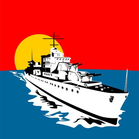 invade: Battleship with big guns Illustration