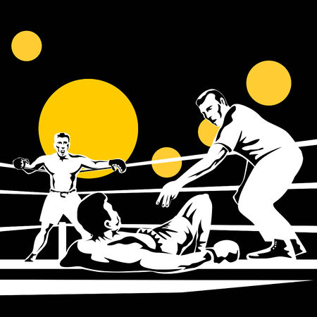 boxing knockout: Referee counting down boxer