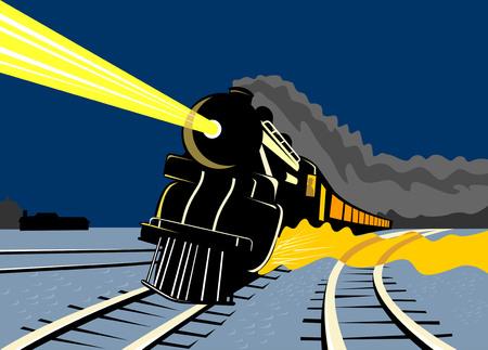scheinwerfer: Vintage Zug reisen in der Nacht Illustration