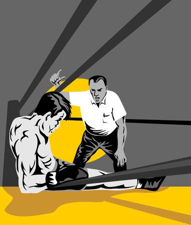 Tercero contando hacia abajo boxeador