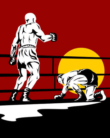 Boxer down on his knees after a knockout Vector