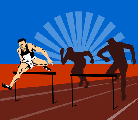 Ahtletic jumping hurdles in first place Stock Vector - 2580596