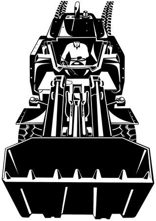 front loader: Cargador frontal en blanco y negro